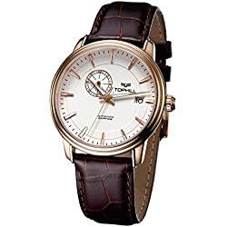 Tophill Men's Sm51015 Automatic Self Wind 24 Jewel Leather Strap Watch Brown
