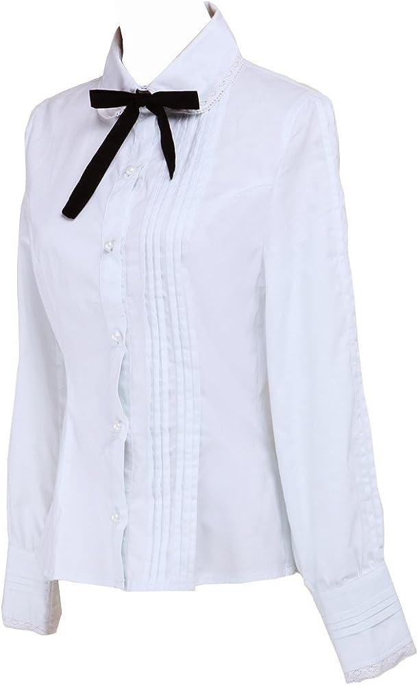 Blanca Algodón Encaje Negra Bow Tie Simple Victoriana Lolita Camisa Blusa de Mujer, XS: Amazon.es: Ropa y accesorios
