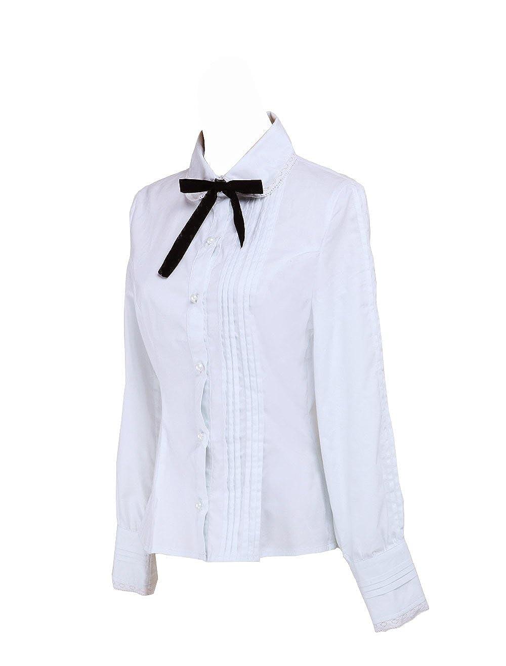00fd788c634133 Amazon.com  Antaina White Cotton Lace Black Bow Tie Simple Victorian Lolita  Shirt Blouse  Clothing