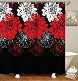Red and Black Shower Curtain Livilan Red and Black Shower Curtain Set with 12 Hooks Floral Fabric Bath Curtains Decorative Bathroom Curtain 70.8