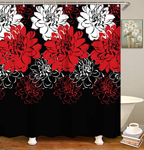 LIVILAN Dahlia Shower Curtain, Floral Fabric Bath Curtains Bathroom Curtain Set with Hooks Red and Black 72x72 Inches Machine Washable Opaque (Shower Set Curtain Red)