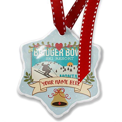 Add Your Own Custom Name, Bridger Bowl Ski Resort - Montana Ski Resort Christmas Ornament NEONBLOND (Bridger Bowl)