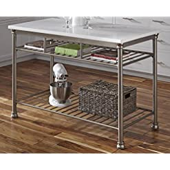 Kitchen Home Styles Professional Kitchen Style 25 Inches High by 52 Inches Wide Steel with White Marble Top modern kitchen islands and carts