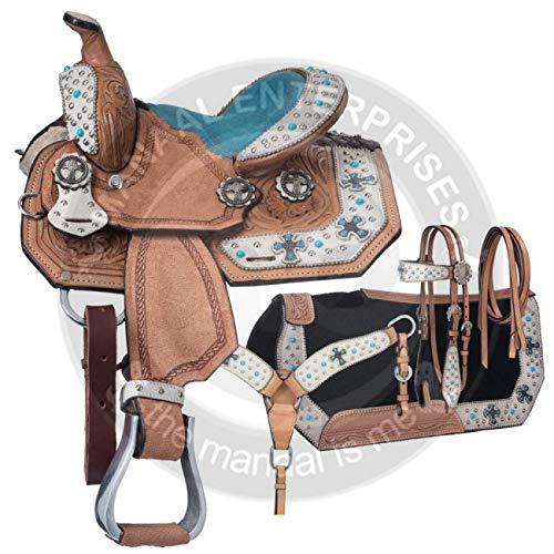 ME Enterprises プレミアムレザー ウェスタンバレルレース 大人用 馬用タック お揃いのレザーヘッドストール 胸の首輪 手綱 サドルパッド 14~18インチのシートをご用意 ブルー 17.5\
