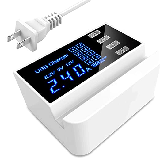 STAY TRULY Cargador USB con Pantalla LED, 20W 4-Puerto de ...