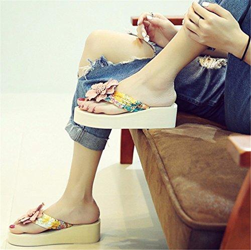 piedi resort casual sulla spesso scarpe flip flop FLYRCX pantofole fondo spiaggia beach di clip Outdoor summer b donna fiori moda CtWwqxnz