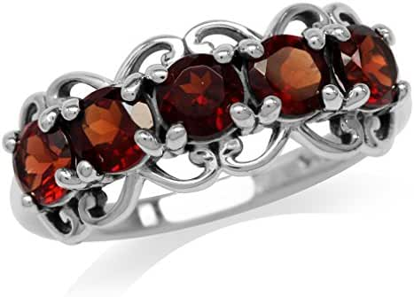 1.65ct. 5-Stone Natural Garnet 925 Sterling Silver Victorian Style Ring