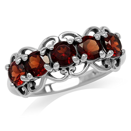 1.65ct. 5-Stone Natural Garnet 925 Sterling Silver Victorian Style Ring Size ()
