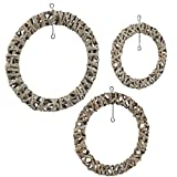Juvale Rustic Wreath - Wicker Wreaths Front Door, Natural Rattan Decor, Wall Ornament, 3 Assorted Sizes