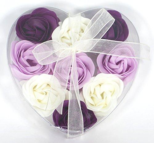 Rose Bath Bombs, nine rose scent bath bombs in a heart gift box.