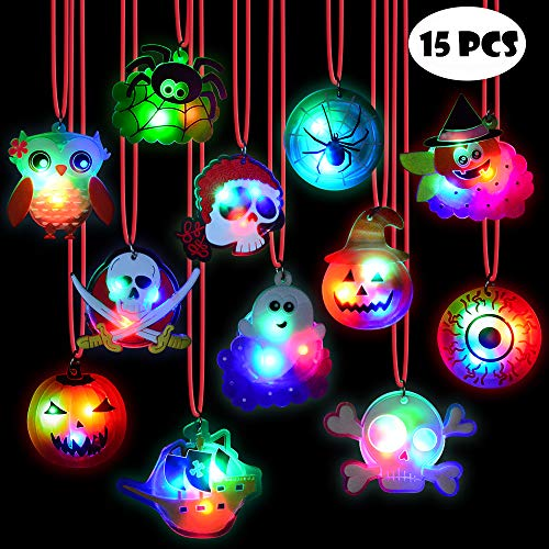 BUDI 15Pc Halloween LED Necklaces Party Favors For Kids and Adults with Gift Package Halloween Light up toys Treat Bag