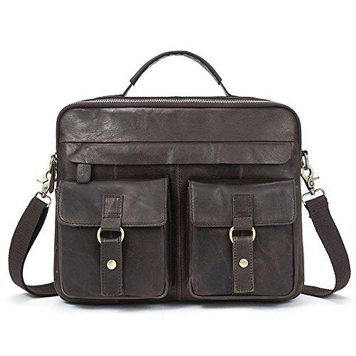 idjnxjslok Aktentasche Herren Echtes Leder Handtaschen Herren Leder Tasche Umhängetasche Messenger Laptop Bag Umhängetasche Business Vintage schokoladenbraun Braun LDfv0g