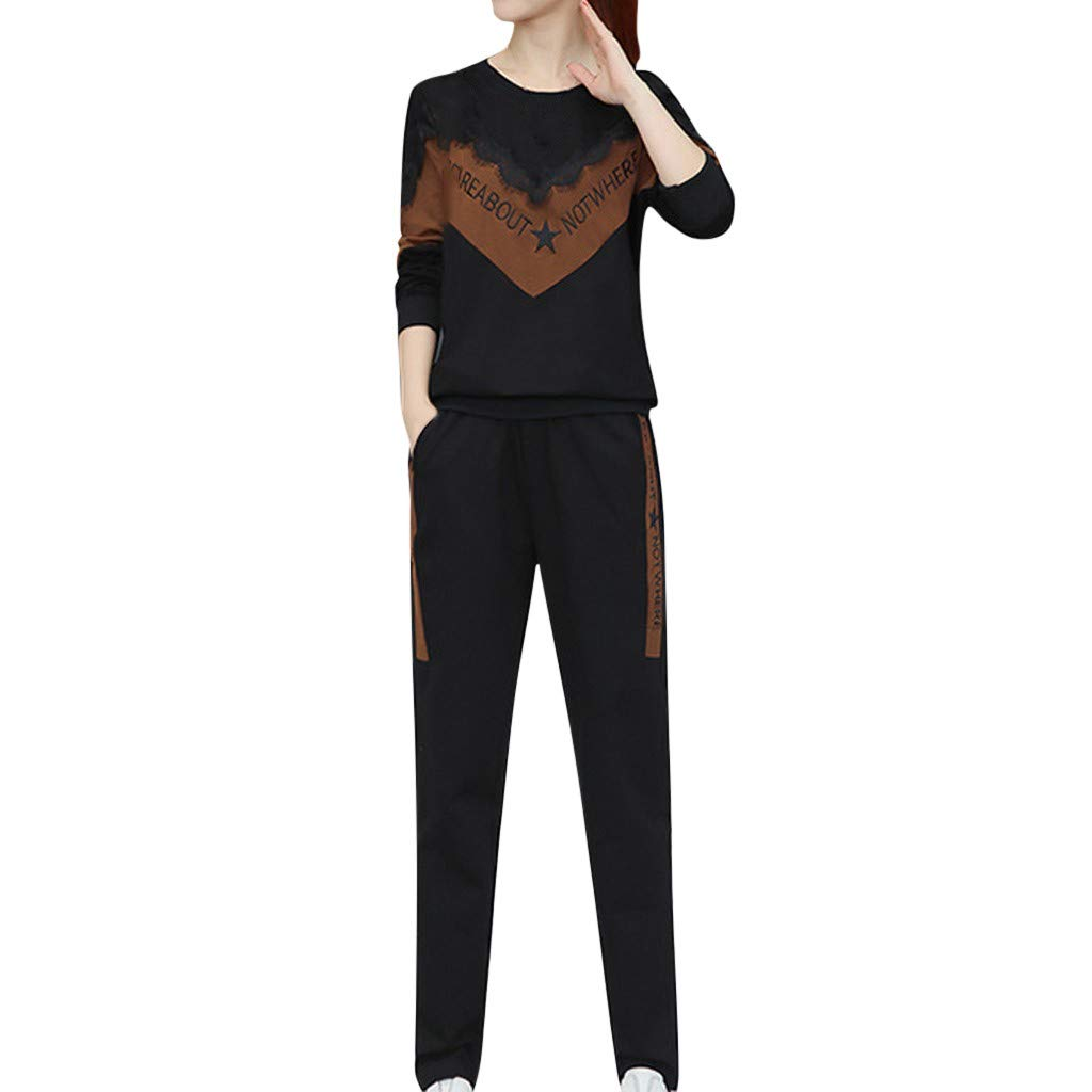 Alangbudu Women Geometric Patchwork Tops Two Piece Outfit Blouse//Pant Long Sleeve Loose Lace Pullover Sportswear Set