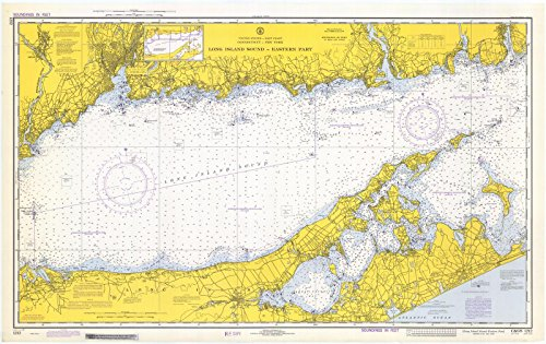 Map - Long Island Sound Eastern Part, 1972 Nautical NOAA Chart - Connecticut, New York (CT, NY) - Vintage Wall Art - 24in x 16in (Long Depth Sound Island)