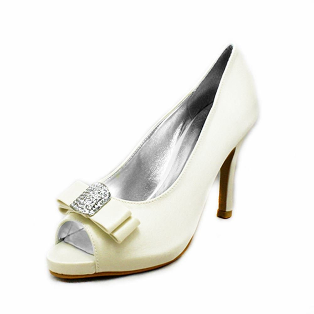 Damen Diamante Satin Peep Toe Pumps mit quadratischen Diamante Damen Bogen toe 3fcefe