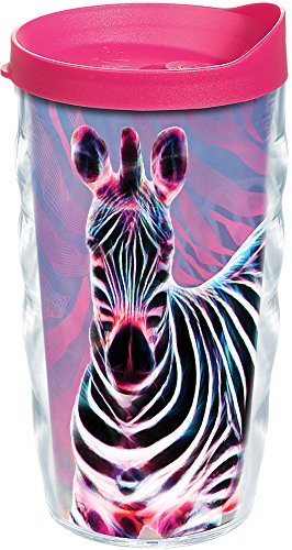 - Tervis 1222135 Cool Zebra Tumbler with Wrap and Fuchsia Lid 10oz Wavy, Clear