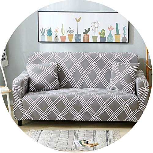 Plaid Sofa Cover Elastic Sofa Covers Stretch Sofa Seat Cover Slipcovers,Color 14,4-Seater(235-300Cm) Cotton Duck Upholstered Headboard