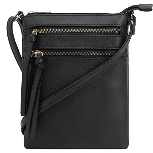 DELUXITY | Crossbody Purse Bag | Functional Multi Pocket Double Zipper Purse | Adjustable Strap | Medium Size Purse | Black