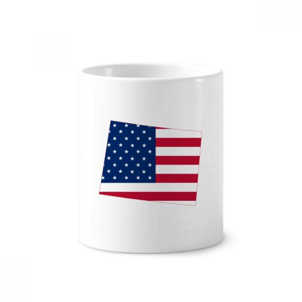 Wyoming America Map Stars Stripes Flag Toothbrush Pen Holder Mug White Ceramic Cup 12oz