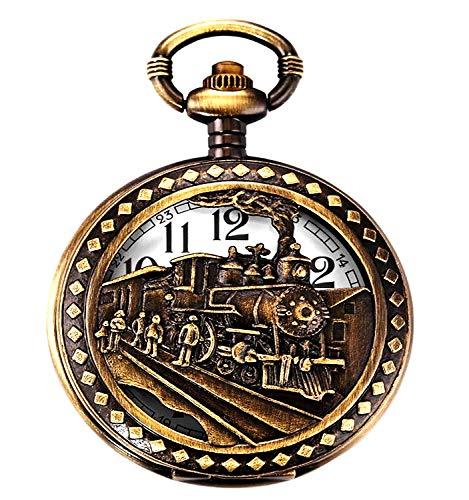 (Skeleton Men's Steam Train Copper Dangle Quartz Pocket Watch + Chain)