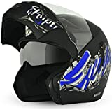 Vega Boolean BLN-ESC-DKMB-L Escape Flip-up Graphic Helmet with Double Visor (Dull Black and Blue, L)