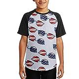 American Flag Sunglasses Colortone Youth Boys Casual O Neck Raglan Shirts Short Tee Baseball Tshirts
