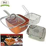 #1 Award Winning Copper Ceramic Square 10'' Non-Stick Ceramic Pan 4 Piece Set for Frying, Baking, Broiling, Steaming & Braising with Fry Basket Steamer & Tempered Glass Lid - As Seen On Tv