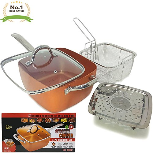 Cheap #1 Award Winning Copper Ceramic Square Non-Stick Ceramic Pan 4 Piece Set for Frying, Baking, Broiling, Steaming & Braising with Fry Basket Steamer & Tempered Glass Lid – As Seen On Tv