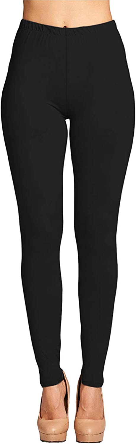 Leggings Mania Womens Plus Solid Color Full Length Size One Size Plus Black