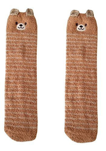 Girls Over Knee Socks Leg Warmers Thigh High Fuzzy Animal Coral Velvet Socks (2-6 Years Old Bear) -