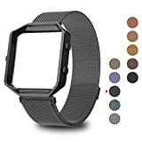 GreenInsync Compatible Fitbit Blaze Band Small, Replacement for Fitbit Blaze Milanese Loop Metal Accessorries Bracelet Straps W/Frame, Unique Magnet Lock, No Buckle Needed for Fitbit Blaze, Gun Metal