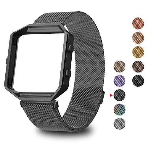 GreenInsync Compatible Fitbit Blaze Band Small, Replacement for Fitbit Blaze Milanese Loop Metal Accessorries Bracelet Straps W/Frame, Unique Magnet Lock, No Buckle Needed for Fitbit Blaze, Gun Metal by GreenInsync