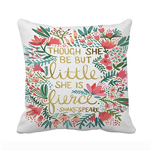 UOOPOO Though She Be But Little She is Fierce Polyester Soft Zippered Cushion Throw Case Pillow Case Cover 18 x 18 Inches