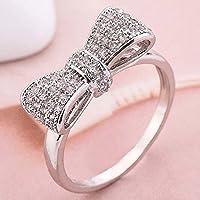 khamchanot Fashion Women 925 Silver White Topaz Bow Ring Wedding Anniversary Gifts Jewelry (7)
