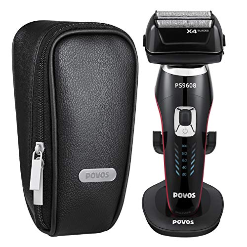 POVOS 4-Blade Men's Electric Razor, Foil Shaver with Pivoting Head, Wet & Dry Shaving Razors with Pop-Up Beard Trimmer, Charging Dock And LCD Display