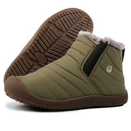 ROSEUNION Unisex - Erwachsene Warme Schneestiefel Knöchelhoch Slip on Komfort Boots Stiefel für Herren Damen Winter Outdoor Winterstiefel Bequem Short Schlupfstiefel High top Grün