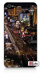Stunning Las Vegas Strip Lights & Skyline at Night iPhone 4 Quality Hard Snap On Case for iPhone 4 4S 4G - AT&T Sprint Verizon - White Case Cover