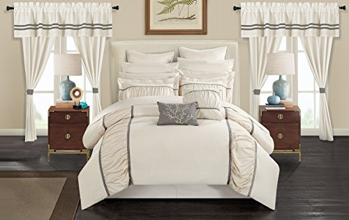 Chic Home CS3145-AN Mayan 24 Piece Bed in A Bag Comforter Set, Off-White, - Queen Ensemble 24 Bed Piece