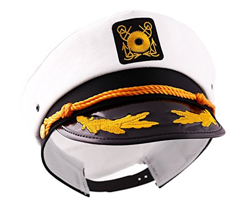 Captain's Yacht Sailors Hat Snapback Adjustable Sea Cap Navy Costume Accessory (2 Pcs. Set) (Adult Captain Hat Sea)