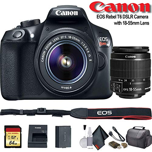 Canon EOS Rebel T6 DSLR Camera with 18-55mm Lens (1159C003) – Starter Bundle