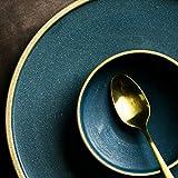 Ceramic gold edge steak dish rice bowl golden