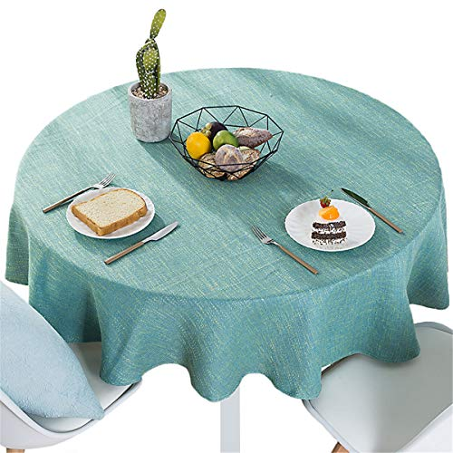 Bettery Home Cotton Linen Solid Color Tablecloth Round Simple Style Table Cover for Kitchen Dining Tabletop Linen Decor (Green, Round – 55 Inch)