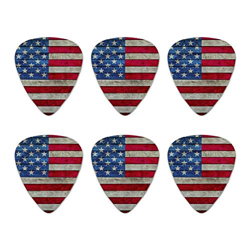 Rustic American Flag Wood Grain Design Novelty Guitar Picks Medium Gauge - Set of 6 (Guitar Pick Usa)