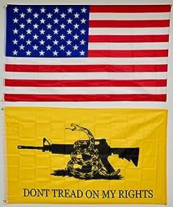 Estados Unidos y Gadsden no pisar mi derechos Lot de 2banderas 3x 5Super poliéster bandera de Nylon 3'x5' casa Banner 90cm x 150cm ojales doble cosido Premium calidad interior al aire libre poste banderín
