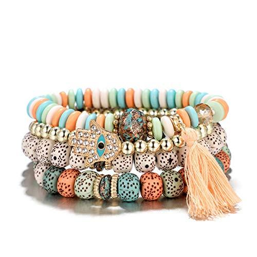(IDB Boho Multilayer 4PC Bracelet Set - Multi Chain with Crystal Charms - Approx 7.4 Inch Bracelet Set for Women (Boho Pink))