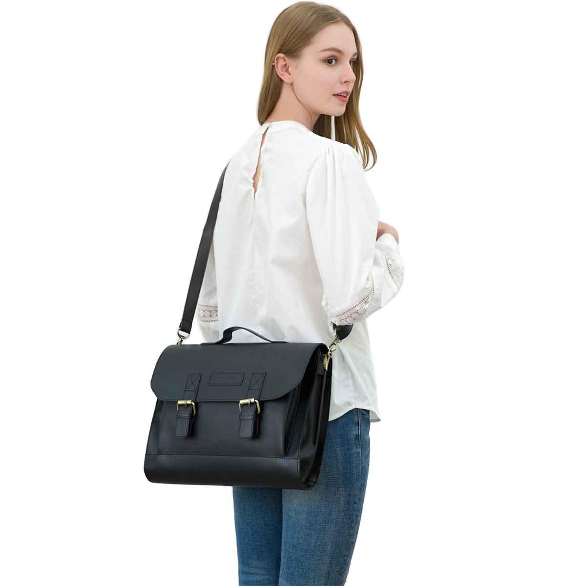 JAKAGO 14.6 Inch Vintage PU Leather Briefcase Laptop Shoulder Messenger Bag Tote School Distressed Bag for Women and Men by JAKAGO (Image #7)