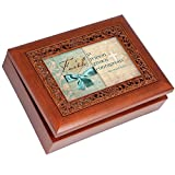 Cottage Garden Faith Is Reason Woodgrain Inspirational Ornate Inlay Music Box Plays Amazing Grace