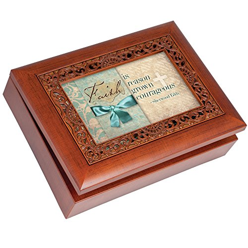 Cottage Garden Faith Is Reason Woodgrain Inspirational Ornate Inlay Music Box Plays Amazing Grace by Cottage Garden