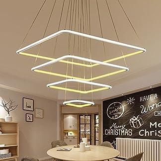 JZMB Moderno 3 Anelli Quadrati LED lampade a Sospensione per Soggiorno Sala da Pranzo Lampada a Sospensione Luce appesa Lampada da soffitto a LED Lampada, 3Ring 40cm 60cm 80cm, Bianco Caldo /