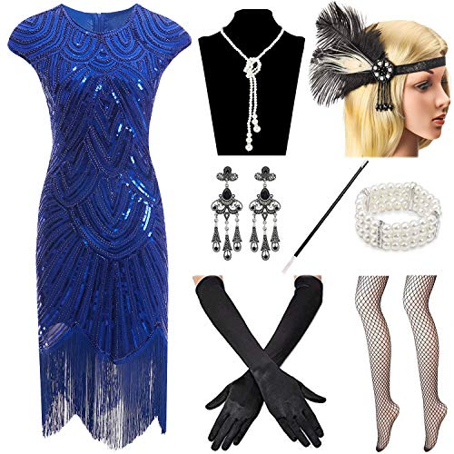 Women 1920s Vintage Flapper Fringe Beaded Gatsby Party Dress with 20s Accessories Set -